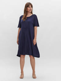 VERO MODA CURVE jurk VMVIRAS met plooien donkerblauw, Donkerblauw