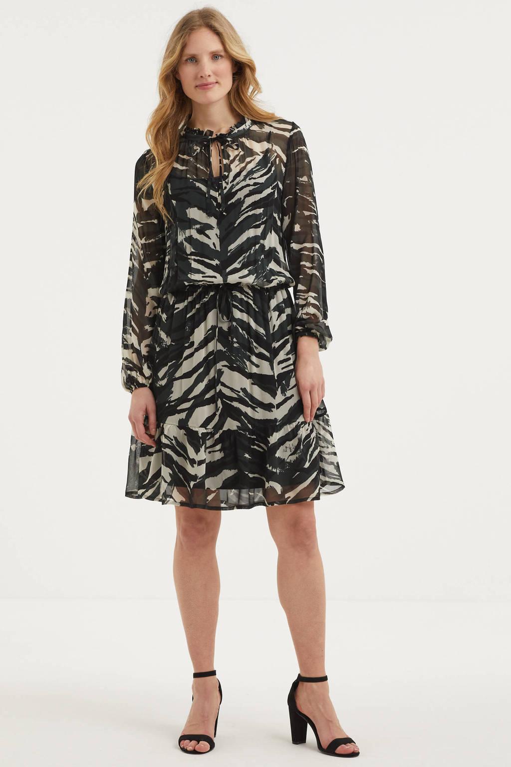 Summum Woman semi-transparante jurk met all over print en ruches zwart/ecru, Zwart/ecru