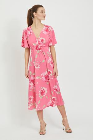 gebloemde maxi jurk VIALBERTE  van gerecycled polyester roze/groen