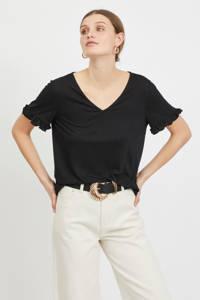 VILA T-shirt VIBINEA met ruches zwart, Zwart