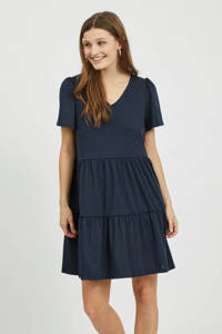 VILA A-lijn jurk VIEDENA van gerecycled polyester donkerblauw, Donkerblauw