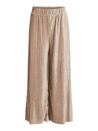VILA cropped high waist loose fit palazzo broek VIPLEASA  taupe, Taupe