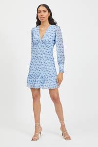 VILA gebloemde jurk VIVALERIA van gerecycled polyester lichtblauw, Lichtblauw