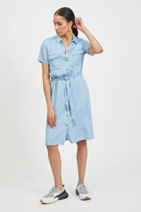 VILA blousejurk VISABINA met ceintuur lichtblauw, Lichtblauw