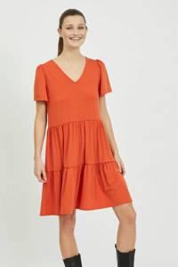 VILA A-lijn jurk VIEDENA van gerecycled polyester rood/oranje, Rood/oranje