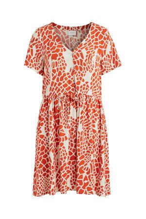 jurk VILISE met printopdruk wit/oranje