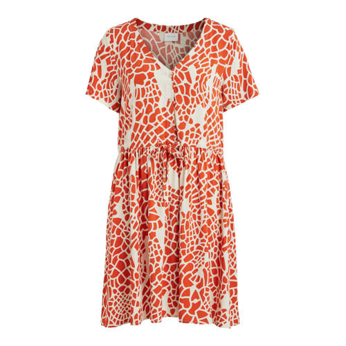 VILA jurk VILISE met printopdruk wit/oranje