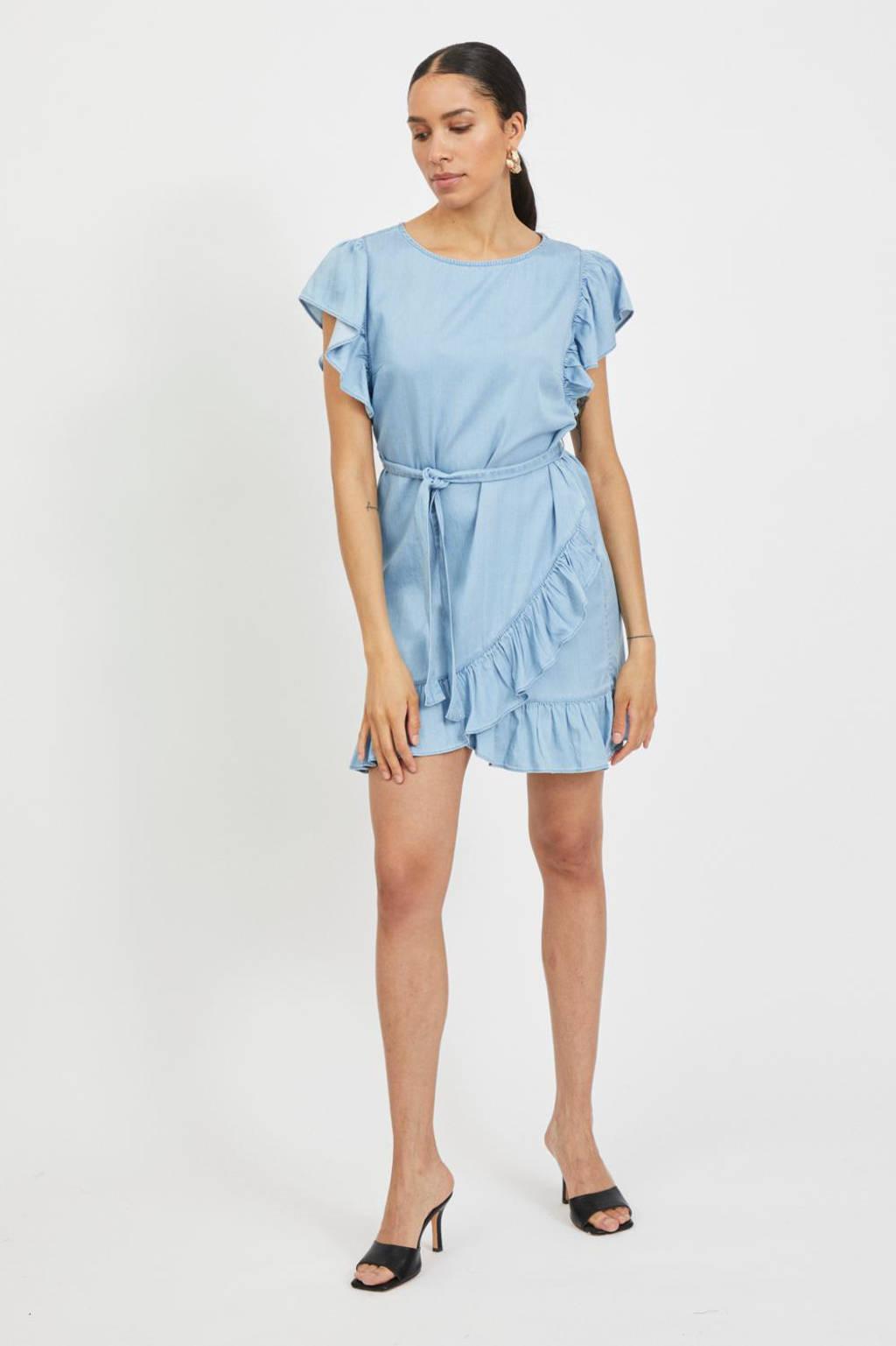 VILA jurk VIGRAZE met ruches lichtblauw, Lichtblauw