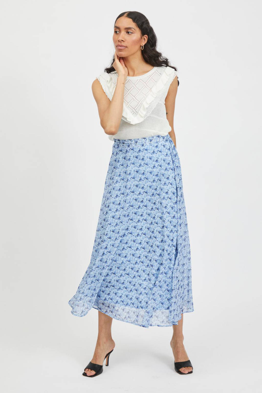 VILA gebloemde midi rok van gerecycled polyester VIVALERIA lichtblauw, Lichtblauw