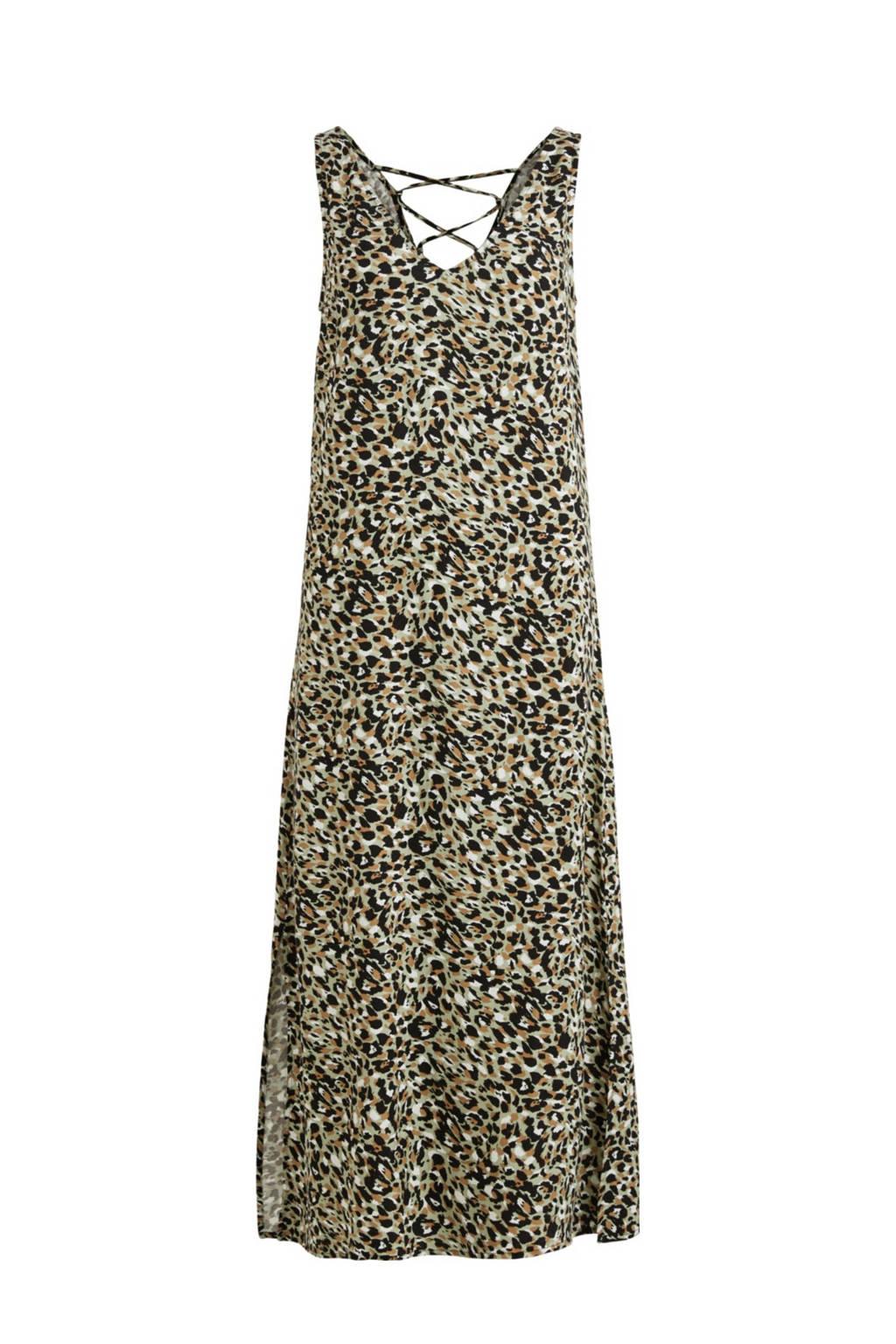 VILA maxi A-lijn jurk VIVISH met all over print lichtgroen/bruin/zwart, Lichtgroen/bruin/zwart