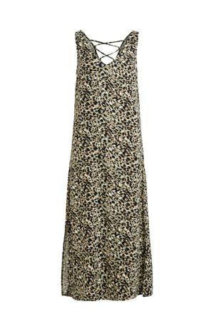 maxi A-lijn jurk VIVISH met all over print lichtgroen/bruin/zwart
