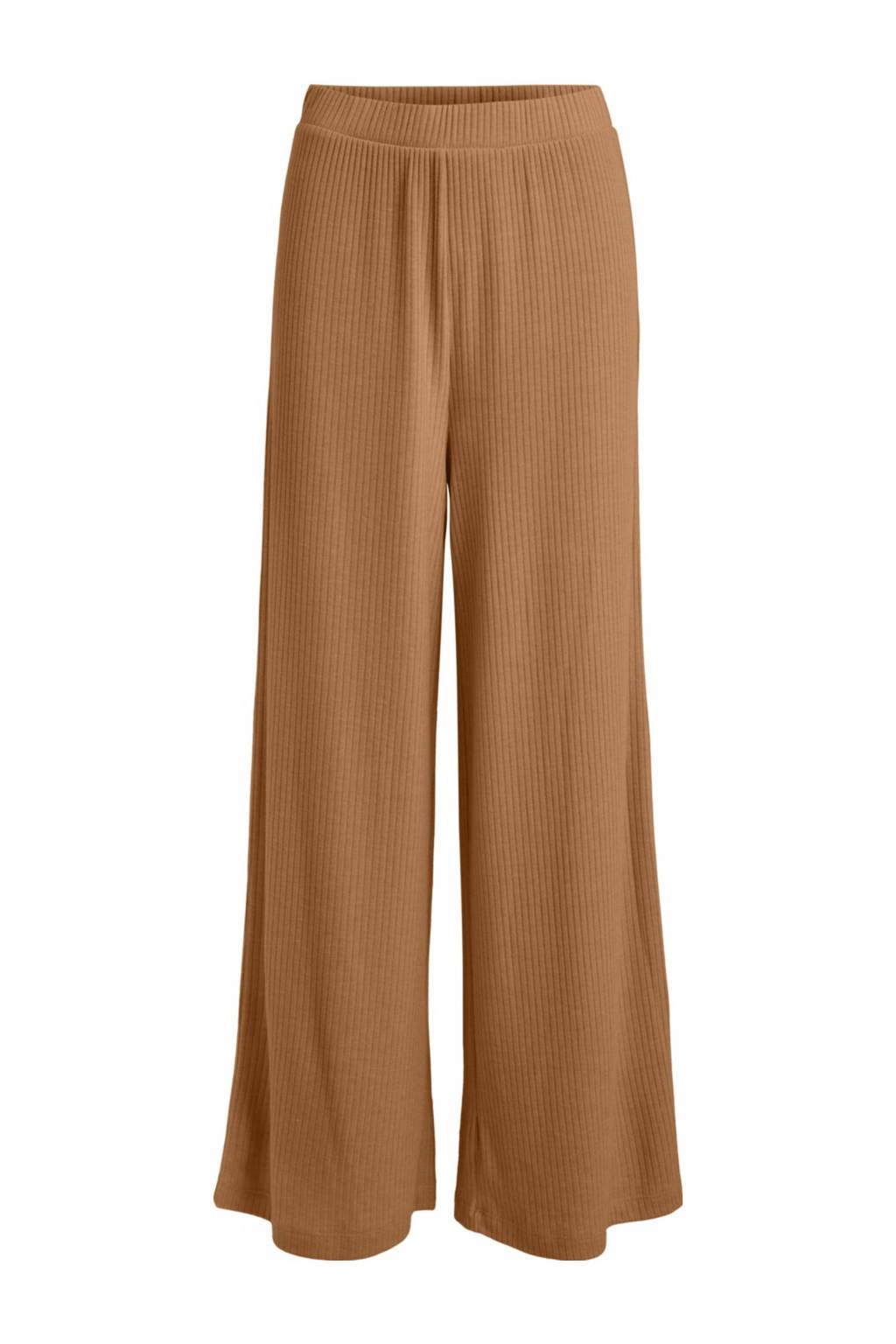 VILA high waist wide leg palazzo broek VIRIBBI  van gerecycled polyester bruin, Bruin