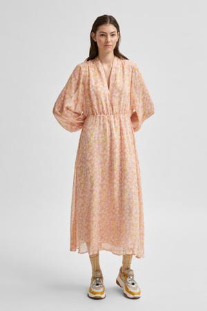 jurk met all over print zalm