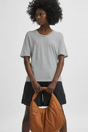 gestreept T-shirt SLFBELIVE  met biologisch katoen wit/zwart