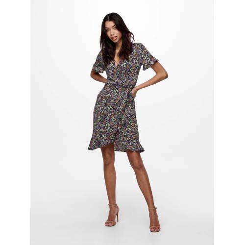 ONLY gebloemde jurk VENEDIG zwart/paars