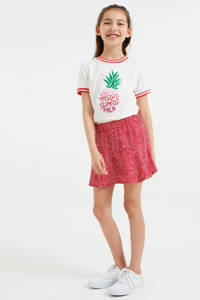 WE Fashion rok met stippen rood/wit, Rood/wit