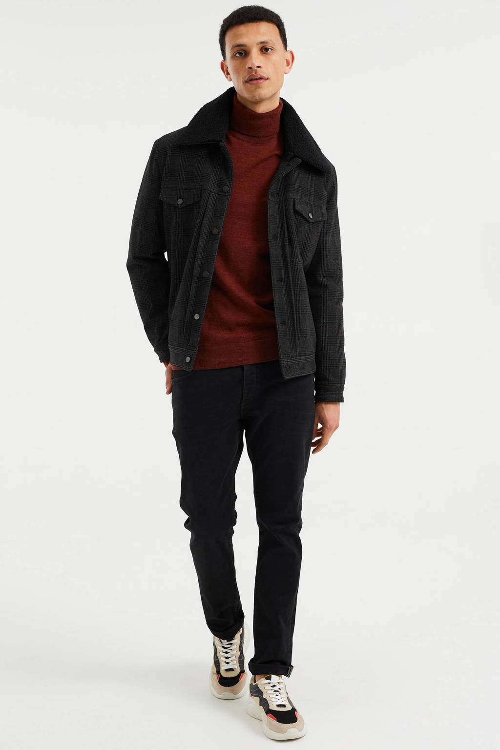WE Fashion geruite  tussenjack black uni, Black Uni