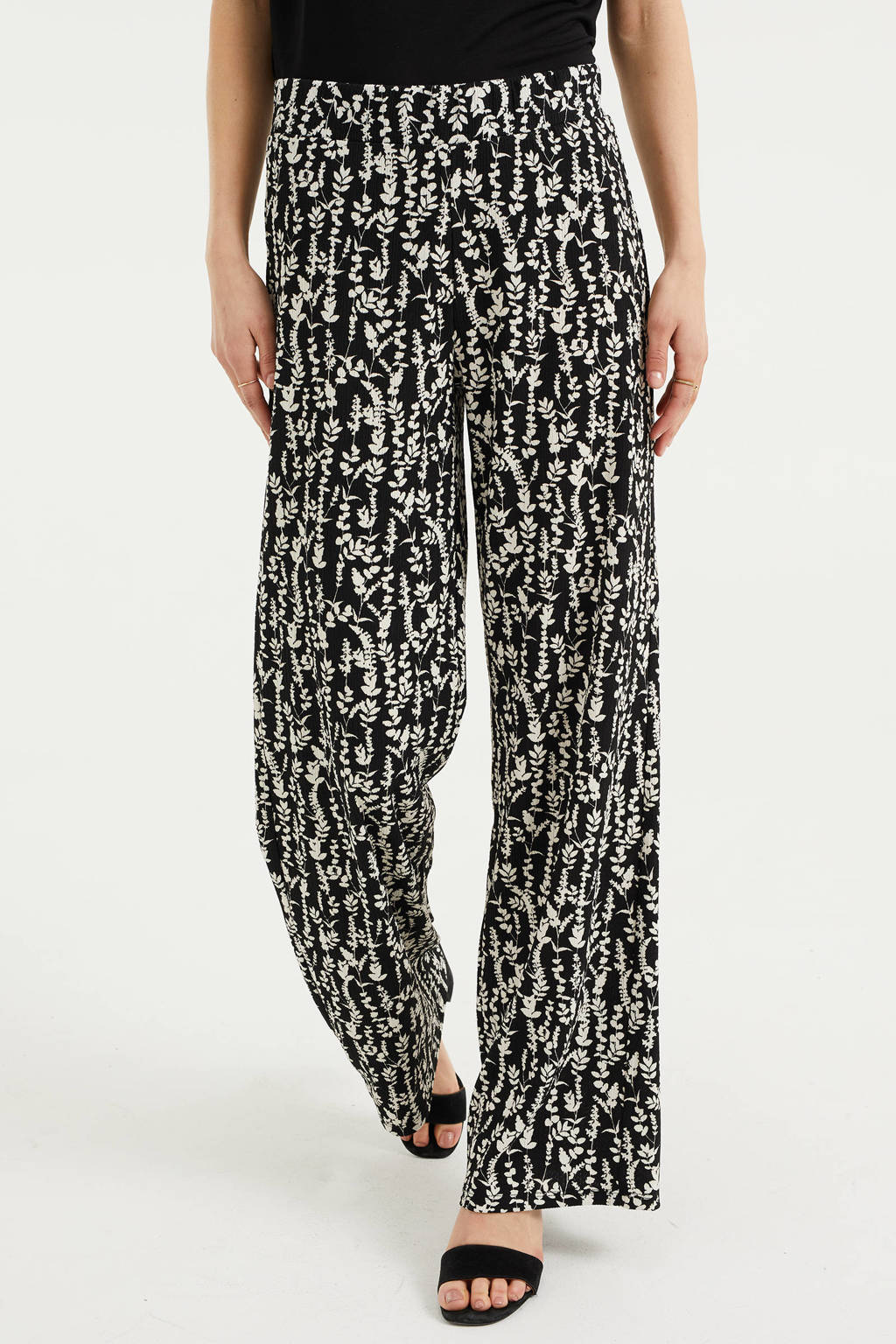 WE Fashion high waist loose fit broek met bladprint en textuur zwart/ecru, Zwart/ecru