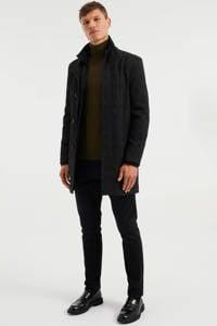 WE Fashion geruite  jas black uni, Black Uni