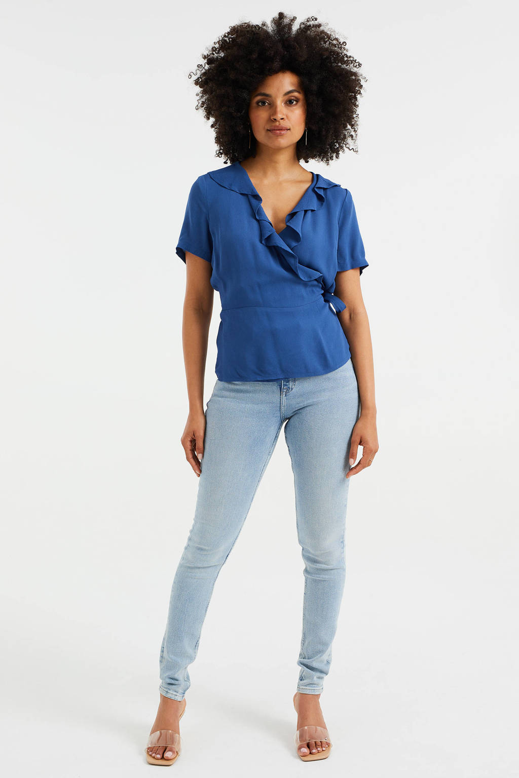 WE Fashion overslag top met ruches blauw, Blauw