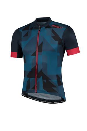 fietsshirt Brisk donkerblauw/rood