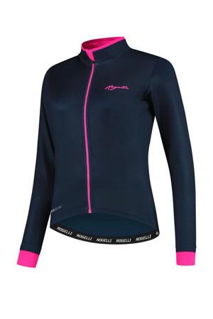 fietsshirt Essntial donkerblauw/roze