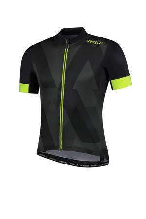 fietsshirt Brisk donkergrijs/neon geel