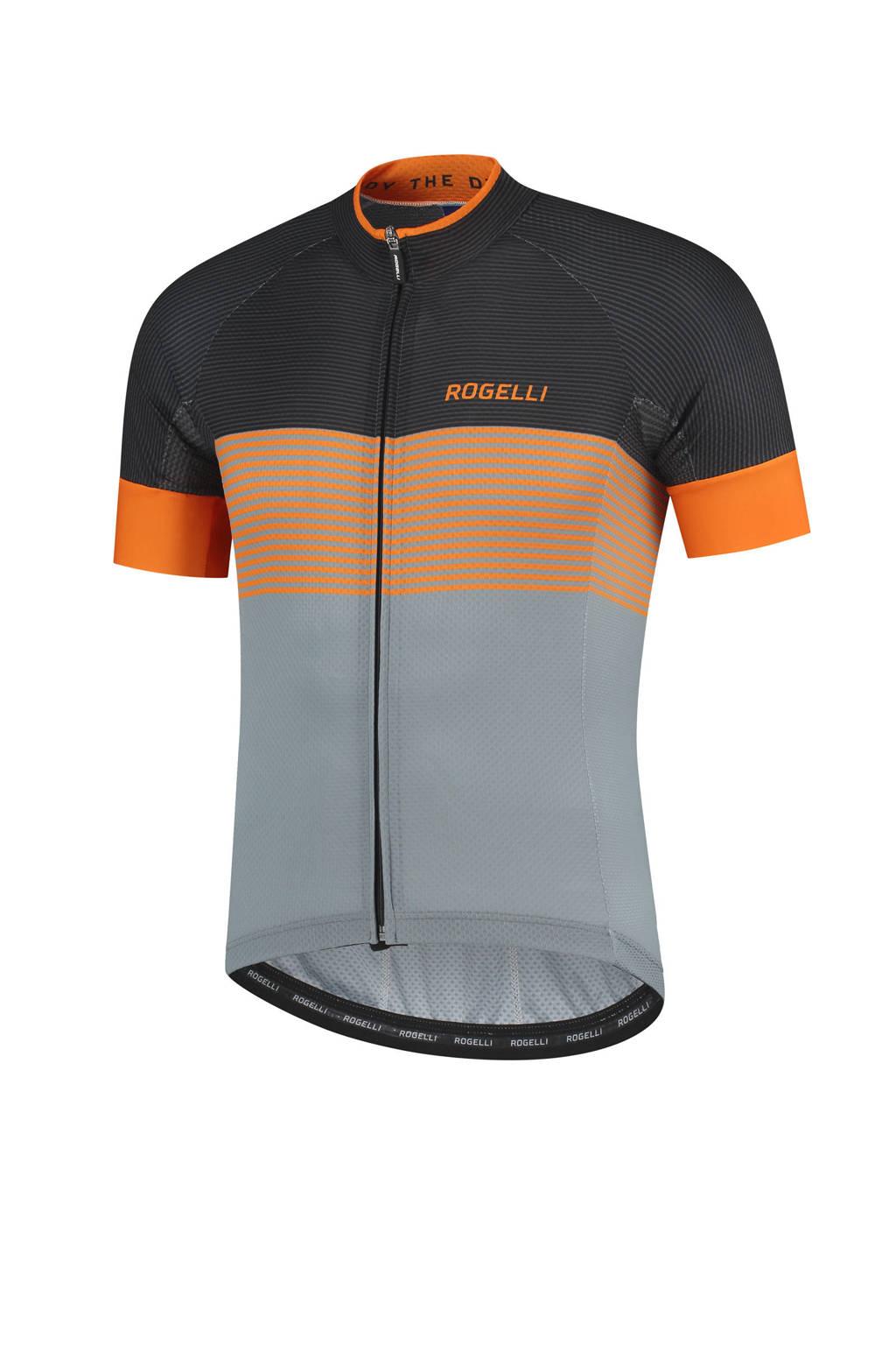 Rogelli   fietsshirt Boost grijs/oranje/zwart, Grijs/oranje/zwart