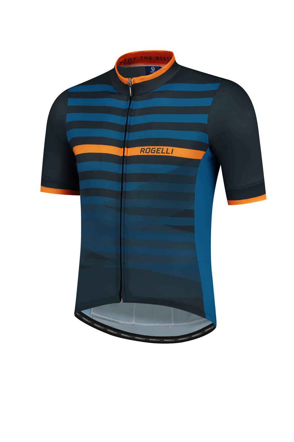 Rogelli   fietsshirt Stripe blauw/oranje, Blauw/oranje