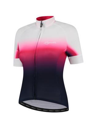 fietsshirt Dream donkerblauw/roze/wit