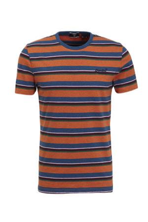 gestreept T-shirt rust orange