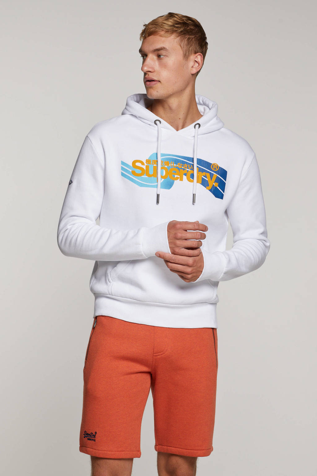 Superdry gemêleerde regular fit sweatshort oranje, Oranje