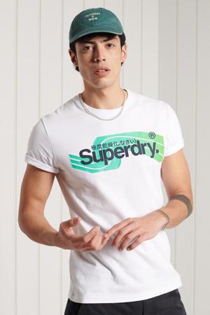 slim fit T-shirt met logo wit