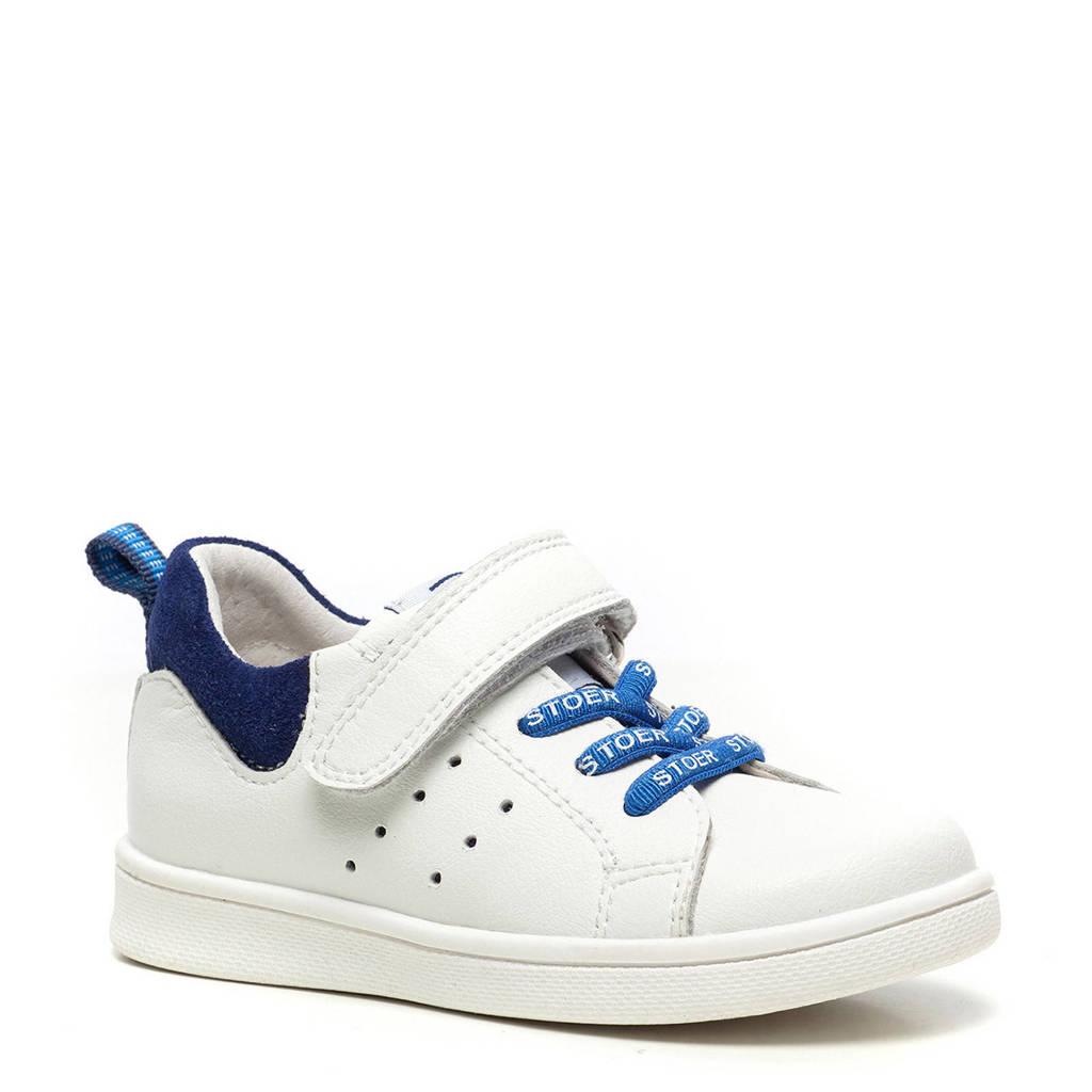 Scapino TwoDay   leren sneakers wit/blauw, Wit/blauw