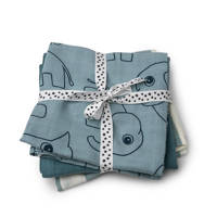 Done by Deer hydrofiele spuugdoekjes 70x70 Deer friends (set van 3) Blue, blue