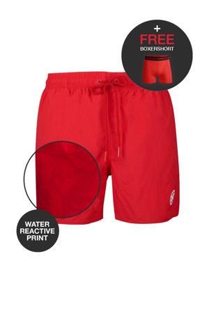 zwemshort + gratis boxershort met magic print donkerrood