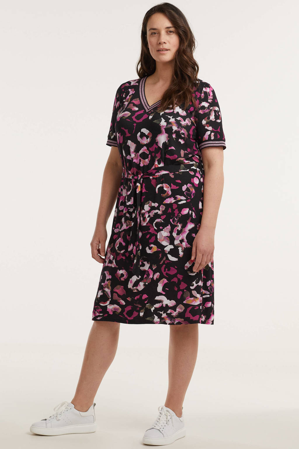 GREAT LOOKS jurk met all over print zwart en roze, Zwart/roze/multi