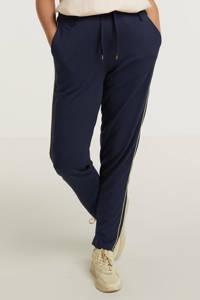 Zhenzi slim fit broek CALLIE 037 met zijstreep donkerblauw/goud, Donkerblauw/goud