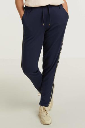 slim fit broek CALLIE 037 met zijstreep donkerblauw/goud