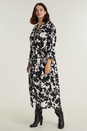 jurk met bladprint en volant wit/zwart