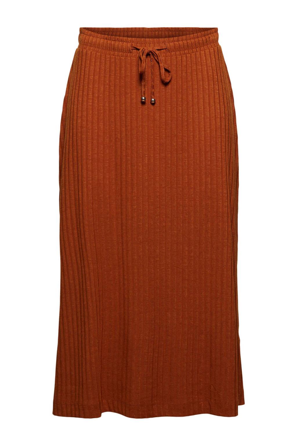 ESPRIT Women Casual fijngebreide rok van gerecycled polyester terra, Terra
