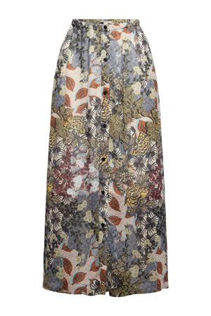 rok met all over print en plooien grijsblauw/beige/bruin