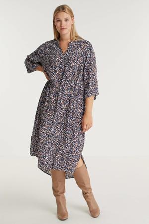 semi-transparante jurk met all over print donkerblauw/roodbruin/wit