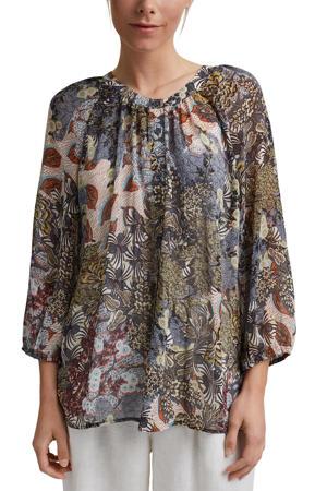 blouse van gerecycled polyester blauw/multi