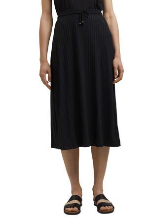 fijngebreide rok van gerecycled polyester zwart