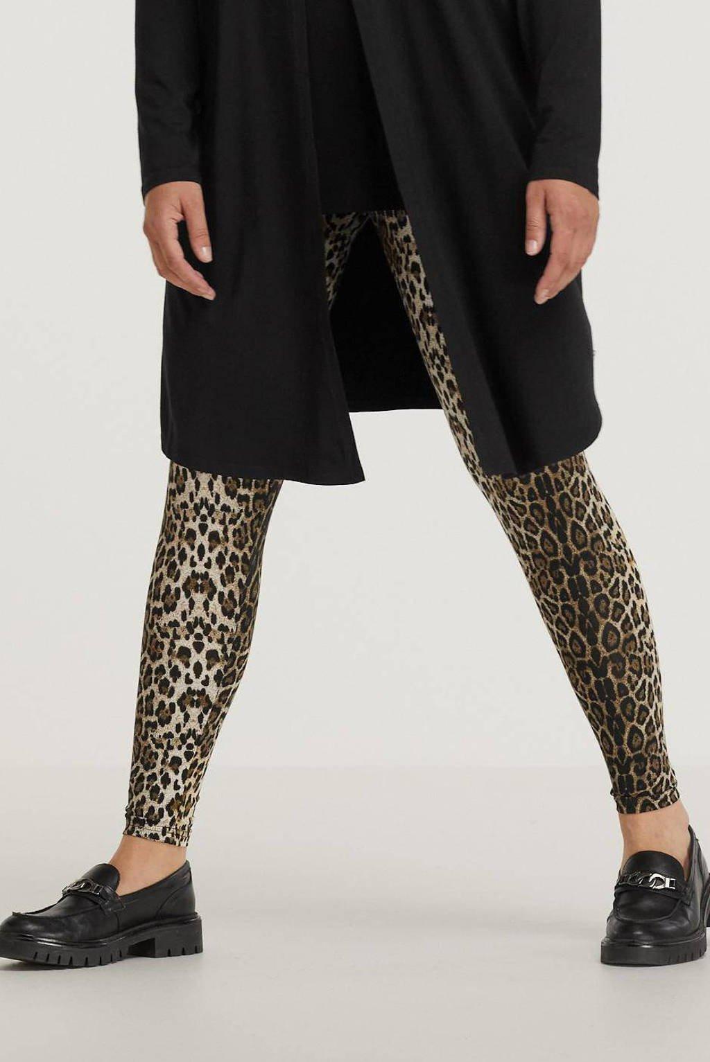 Zhenzi skinny legging SUSA 023 met panterprint bruin, Bruin