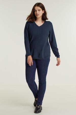 fijngebreide trui KOGLE 009 met textuur donkerblauw