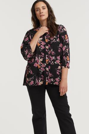 gebloemde blouse EPPIE 049 zwart/roze/oranje