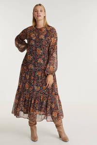 Zhenzi gebloemde semi-transparante maxi A-lijn jurk DIONE 043 donkerblauw/oranje/rood, Donkerblauw/oranje/rood