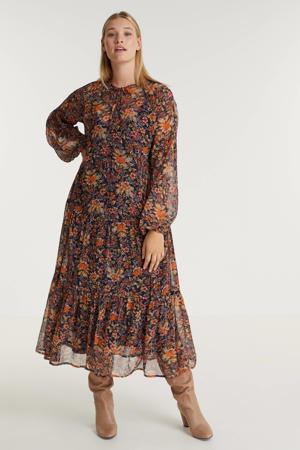 gebloemde semi-transparante maxi A-lijn jurk DIONE 043 donkerblauw/oranje/rood